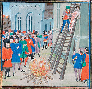One artist's conception of the execution of Hugh Despenser the Younger.